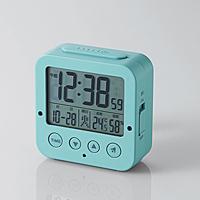 電波デジタル目覚まし時計ブルー